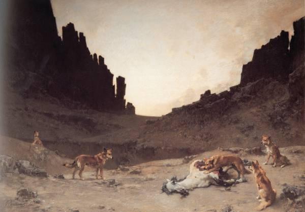 Guillaumet Dogs of the Douar Devuring a Dead Horse